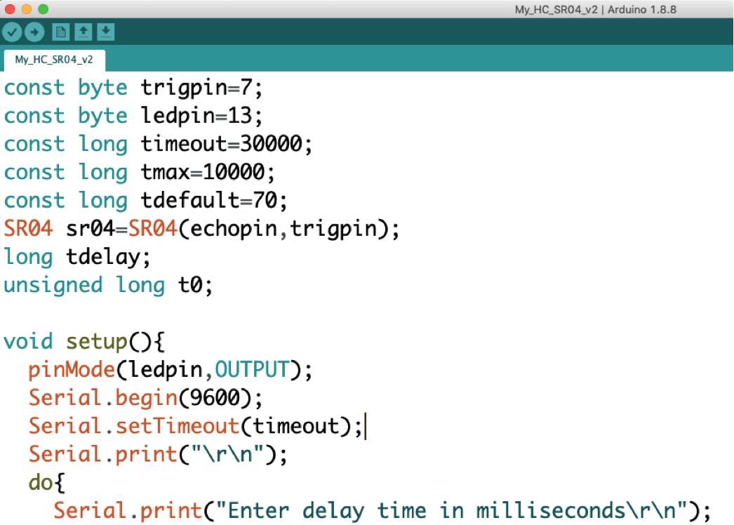 immagine 2 - Codice di Arduino utilizzato nell'esperienza